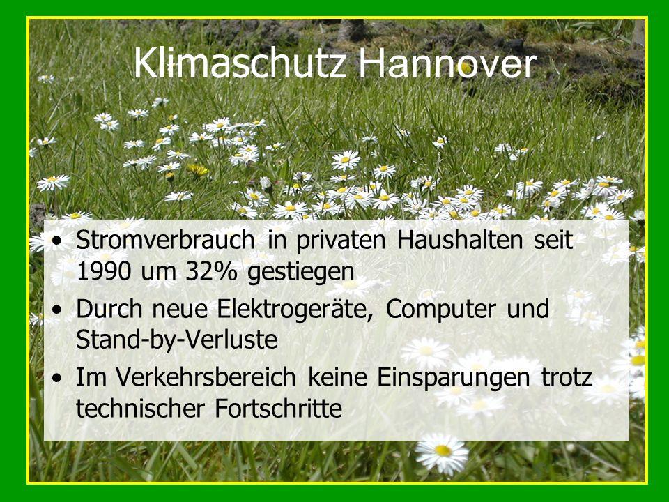 Klimaschutz Hannover Stromverbrauch in privaten Haushalten seit 1990 um 32% gestiegen. Durch neue Elektrogeräte, Computer und Stand-by-Verluste.