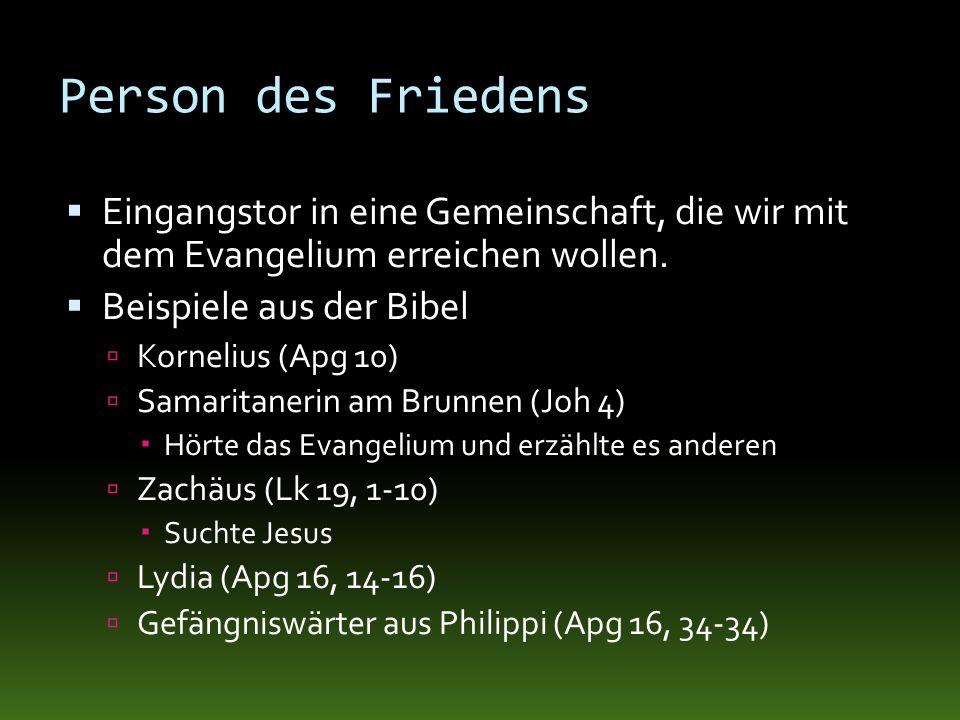 Person des FriedensEingangstor in eine Gemeinschaft, die wir mit dem Evangelium erreichen wollen. Beispiele aus der Bibel.