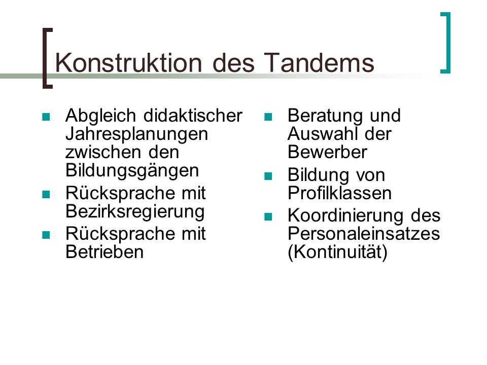 Konstruktion des Tandems