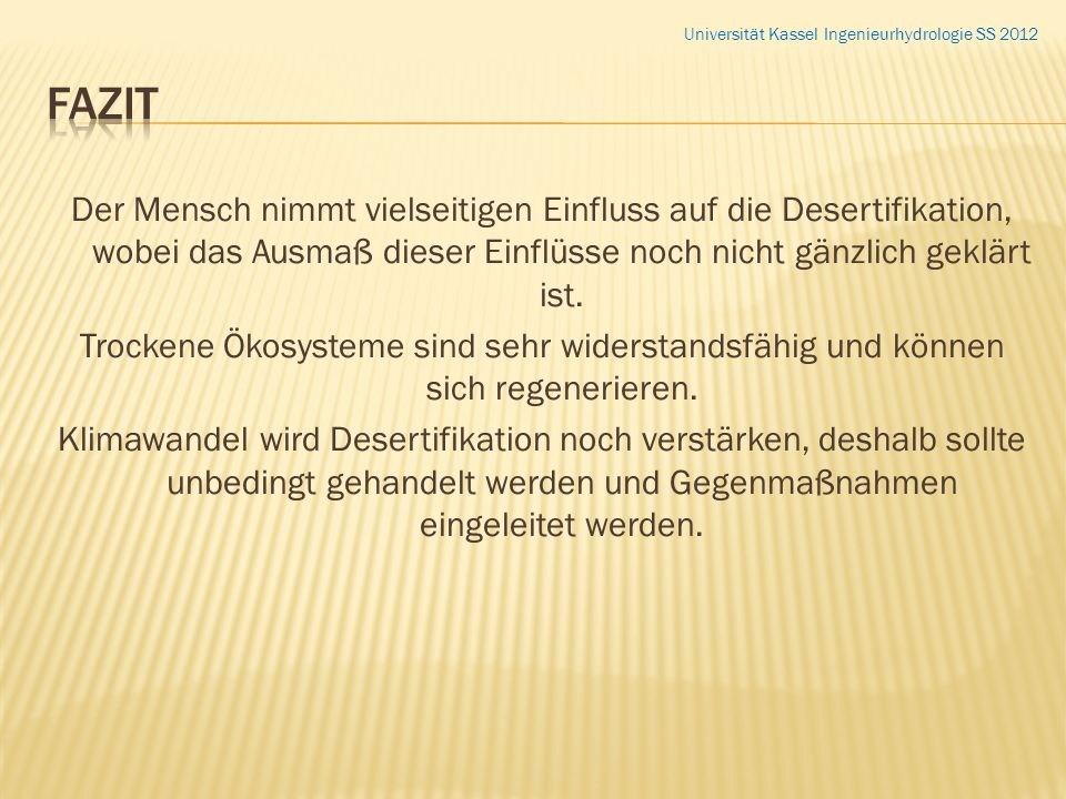 Universität Kassel Ingenieurhydrologie SS 2012