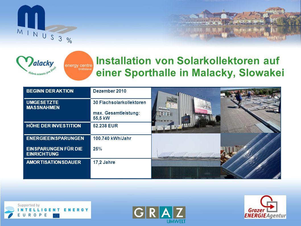 Installation von Solarkollektoren auf einer Sporthalle in Malacky, Slowakei