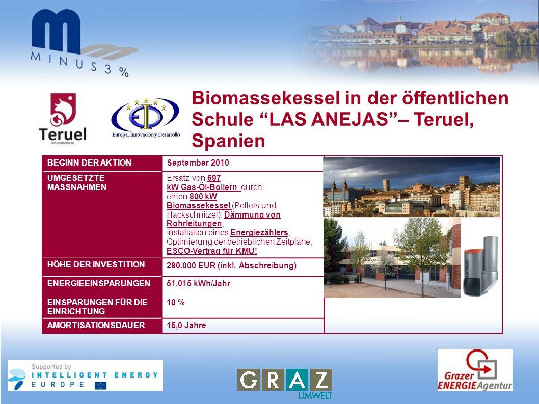 Biomassekessel in der öffentlichen Schule LAS ANEJAS – Teruel, Spanien