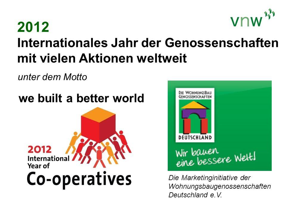 2012 Internationales Jahr der Genossenschaften mit vielen Aktionen weltweit. unter dem Motto. we built a better world.