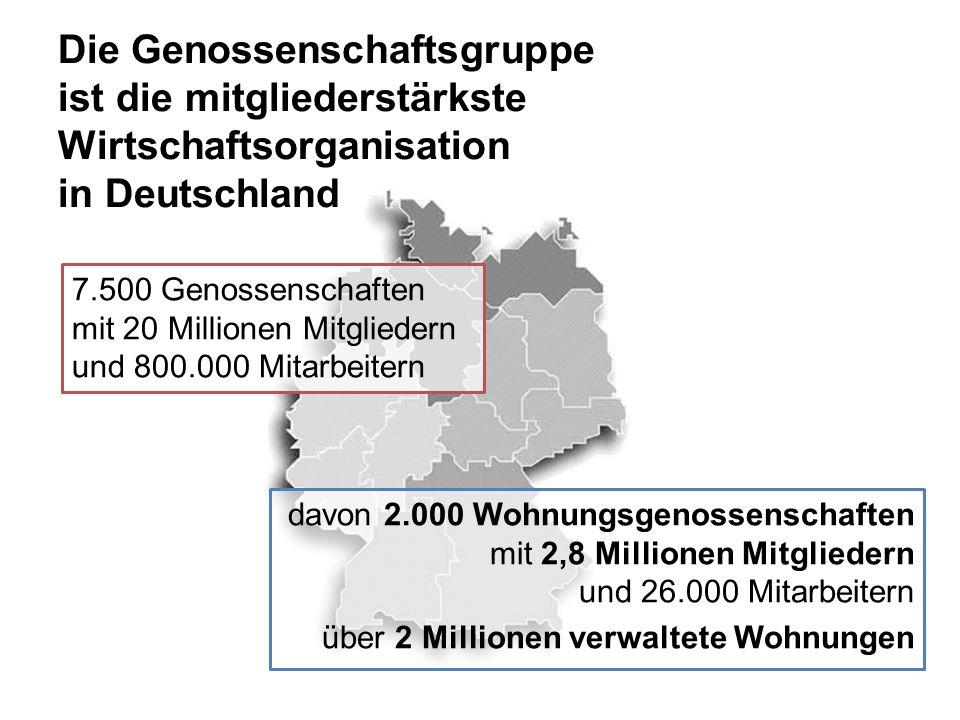 Die Genossenschaftsgruppe ist die mitgliederstärkste Wirtschaftsorganisation in Deutschland