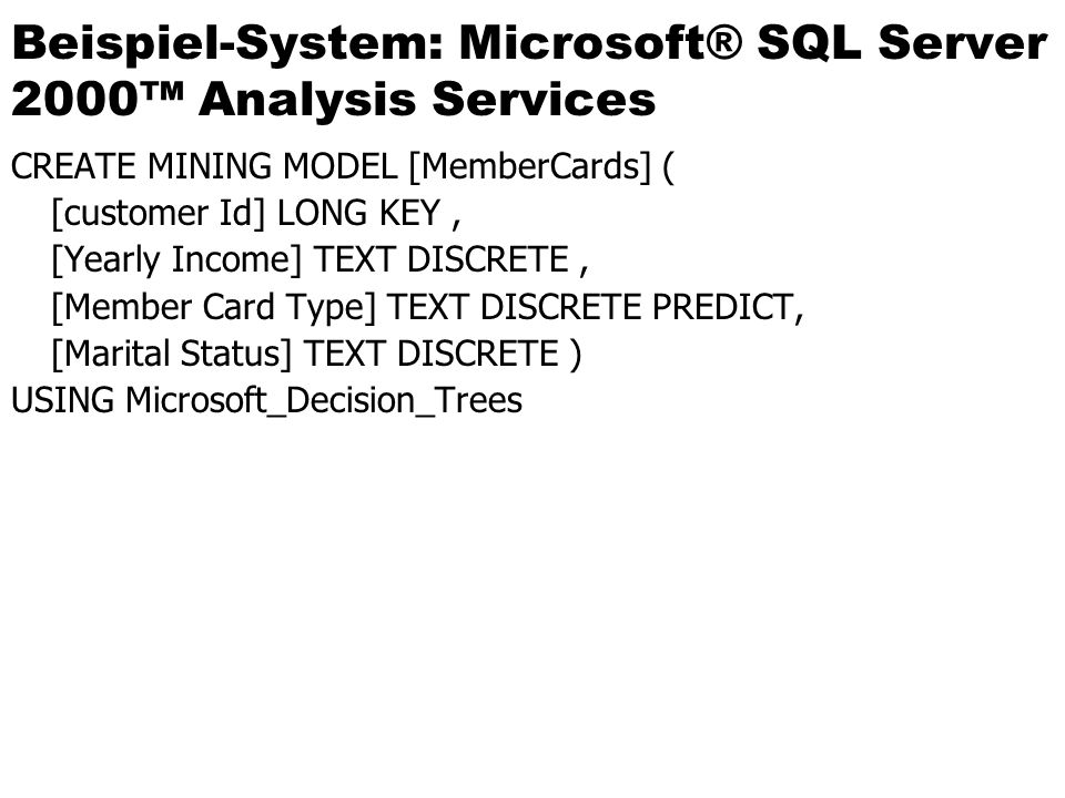 Beispiel-System: Microsoft® SQL Server 2000™ Analysis Services