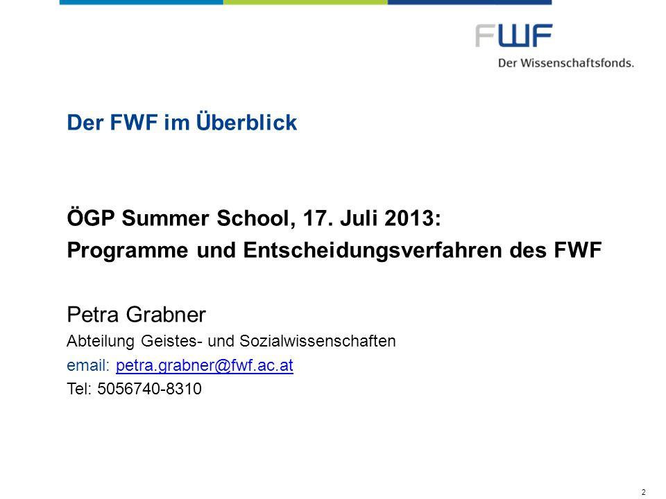 ÖGP Summer School, 17. Juli 2013: