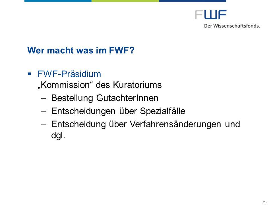"FWF-Präsidium ""Kommission des Kuratoriums Bestellung GutachterInnen"