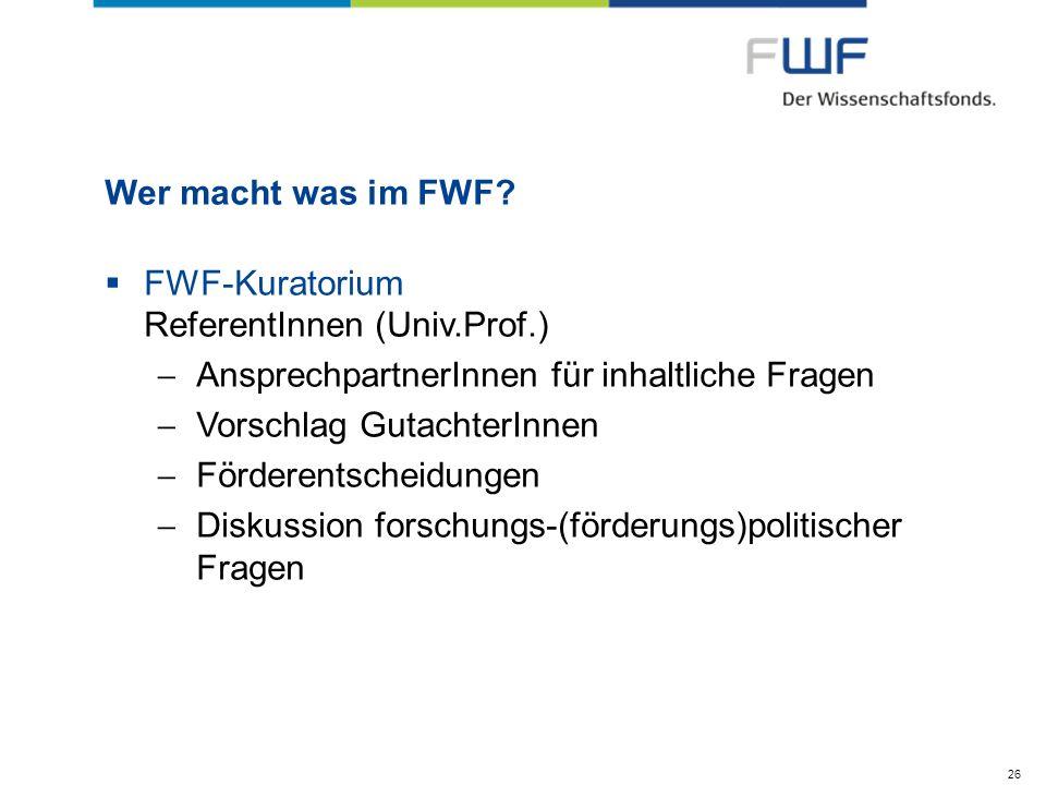 FWF-Kuratorium ReferentInnen (Univ.Prof.)