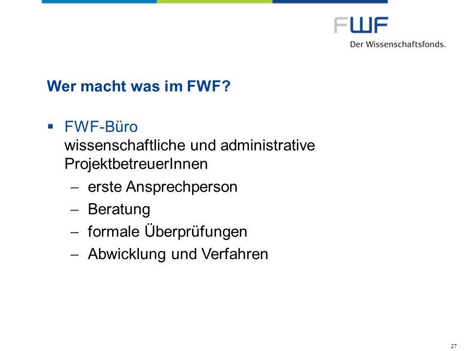 FWF-Büro wissenschaftliche und administrative ProjektbetreuerInnen