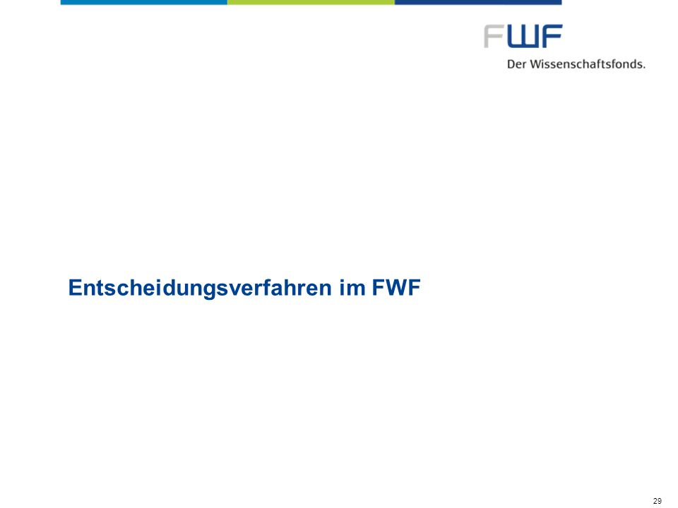 Entscheidungsverfahren im FWF