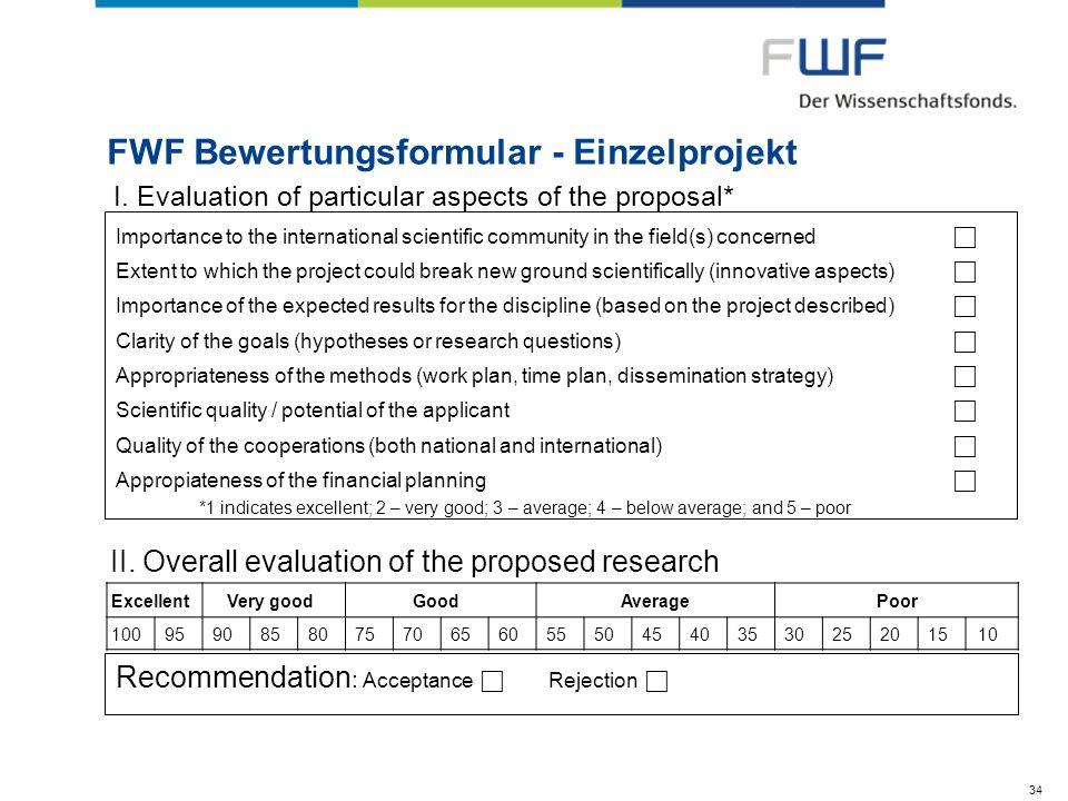 FWF Bewertungsformular - Einzelprojekt