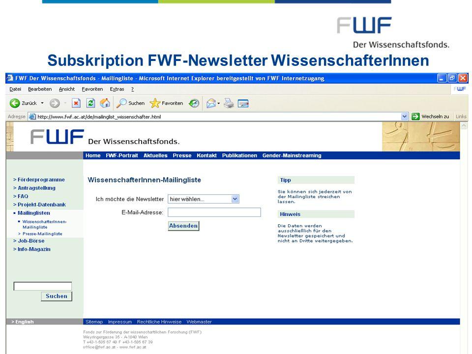 Subskription FWF-Newsletter WissenschafterInnen