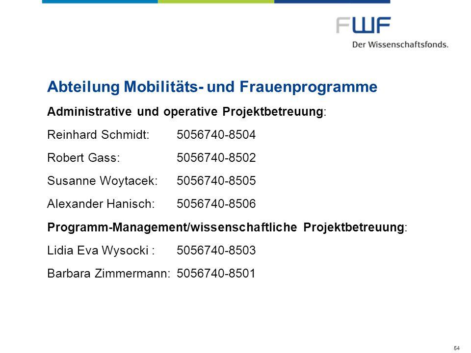 Abteilung Mobilitäts- und Frauenprogramme