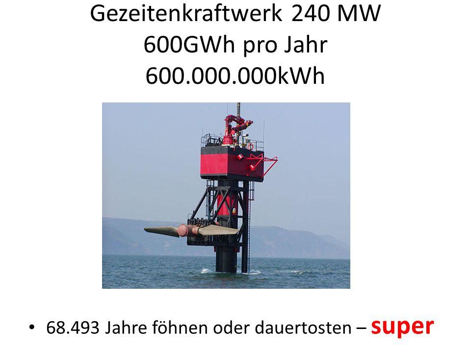 Gezeitenkraftwerk 240 MW 600GWh pro Jahr 600.000.000kWh