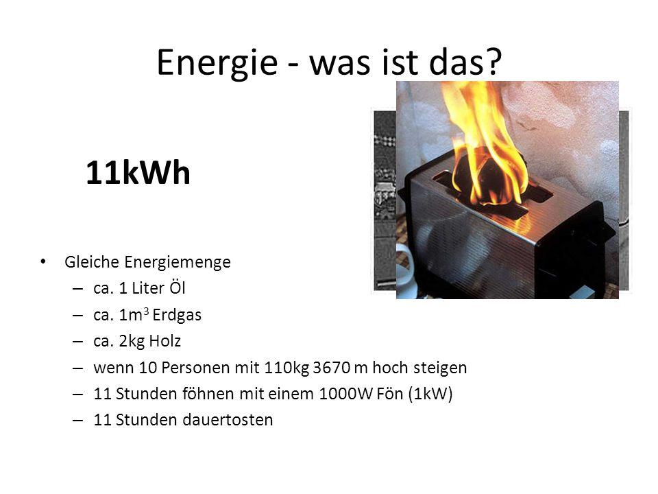 Energie - was ist das 11kWh Gleiche Energiemenge ca. 1 Liter Öl