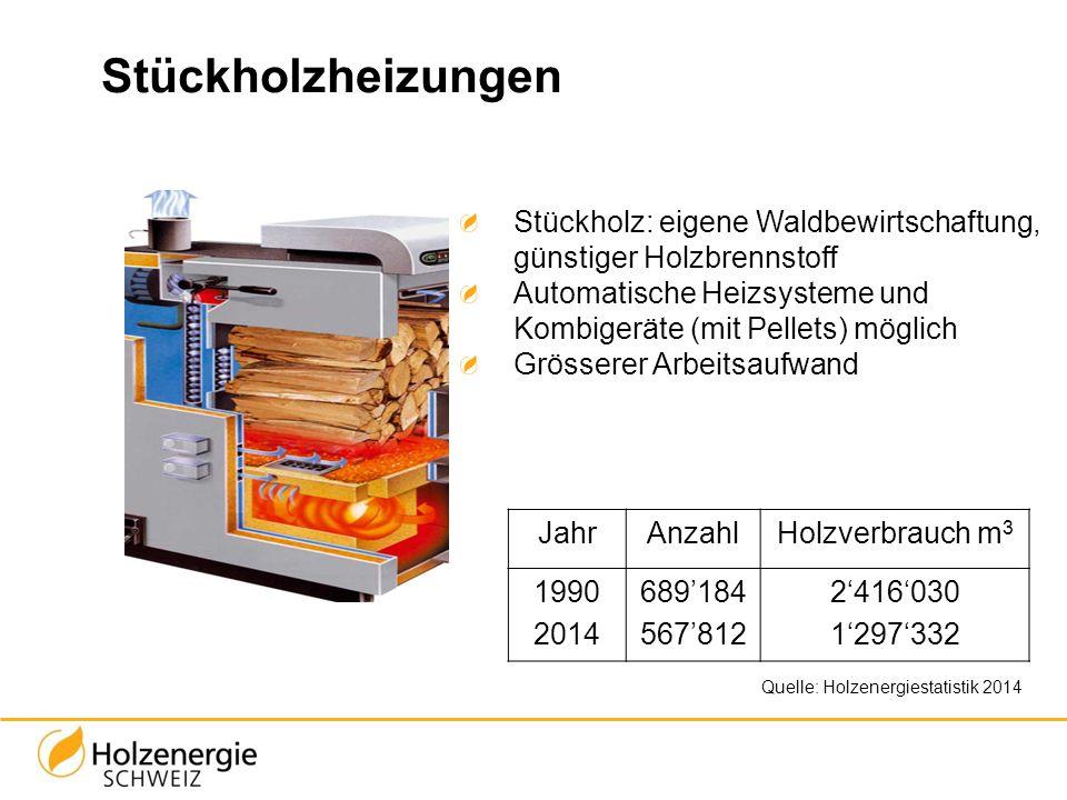 Stückholzheizungen Stückholz: eigene Waldbewirtschaftung, günstiger Holzbrennstoff. Automatische Heizsysteme und Kombigeräte (mit Pellets) möglich.