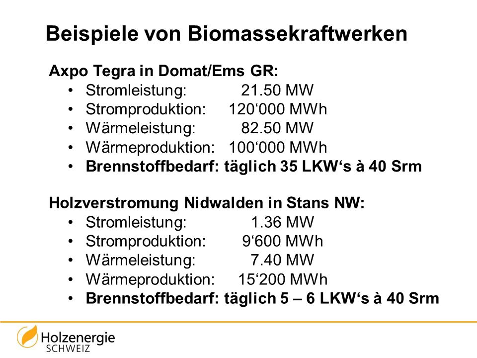 Beispiele von Biomassekraftwerken