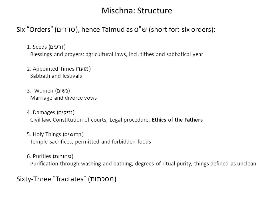 Mischna: StructureSix Orders (סדרים), hence Talmud as ש ס (short for: six orders): 1. Seeds (זרעים)