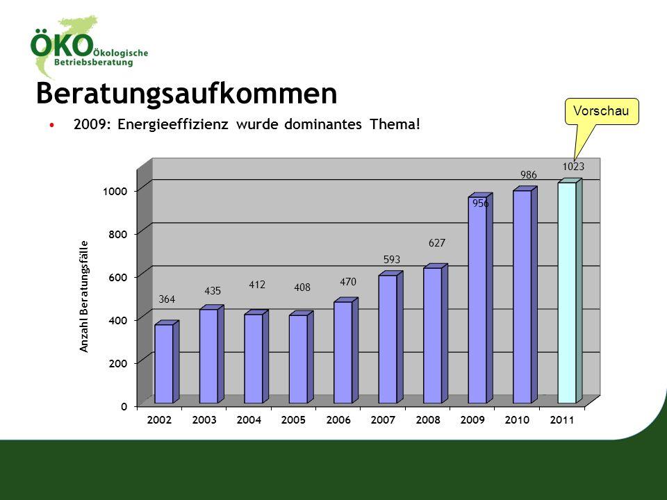 Beratungsaufkommen 2009: Energieeffizienz wurde dominantes Thema!