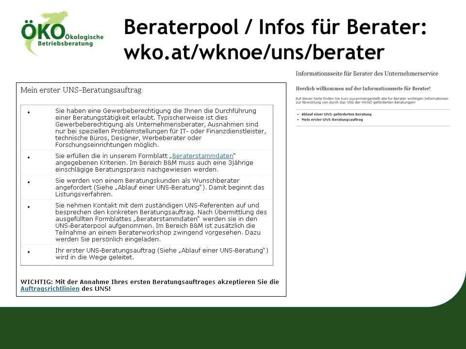 Beraterpool / Infos für Berater: wko.at/wknoe/uns/berater