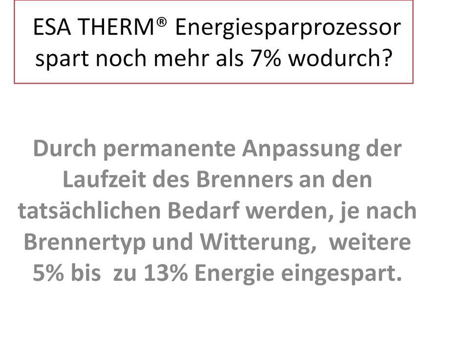 ESA THERM® Energiesparprozessor spart noch mehr als 7% wodurch
