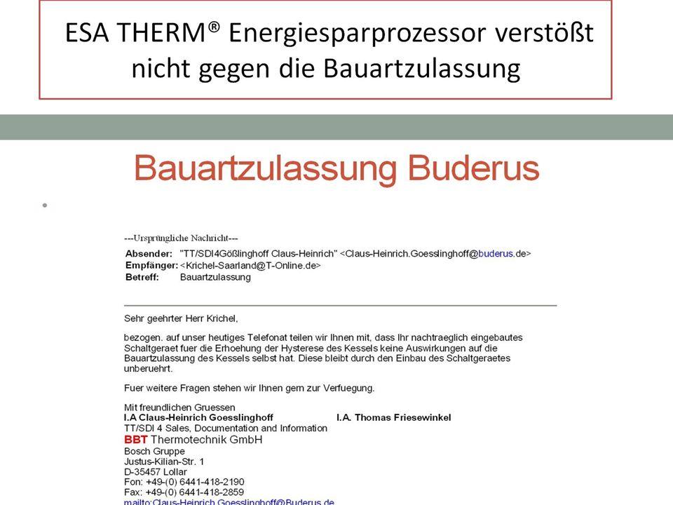 ESA THERM® Energiesparprozessor verstößt nicht gegen die Bauartzulassung