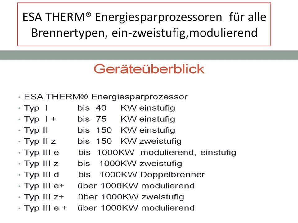 ESA THERM® Energiesparprozessoren für alle Brennertypen, ein-zweistufig,modulierend