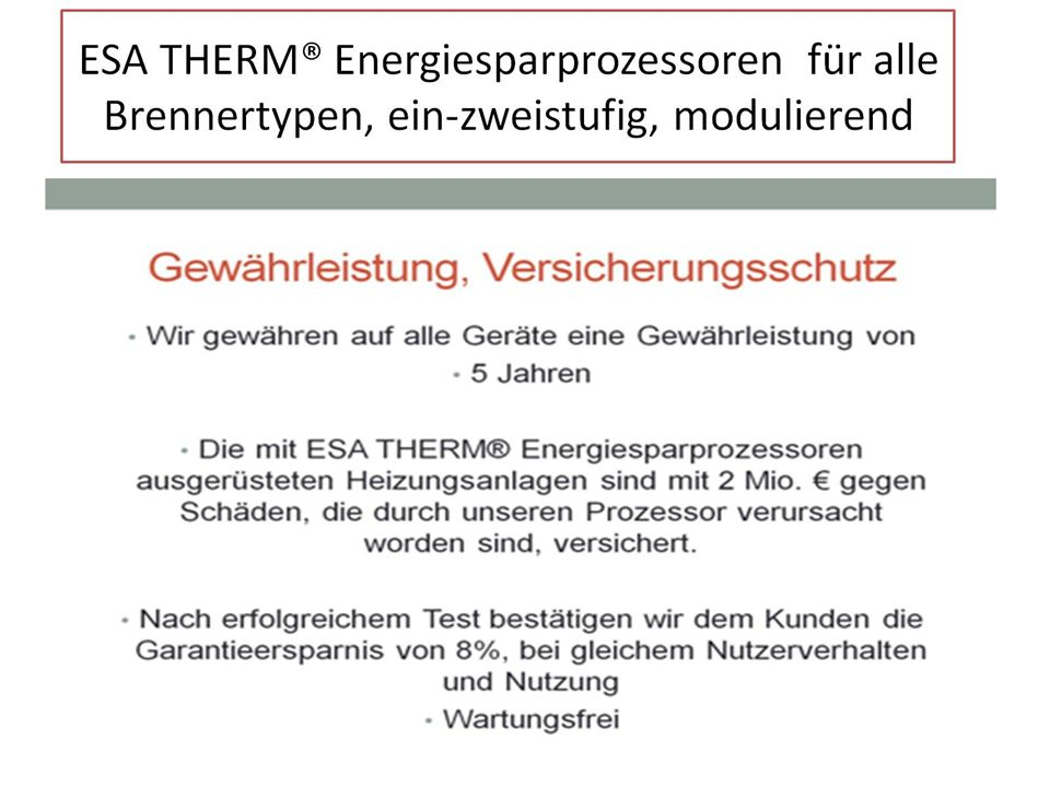 ESA THERM® Energiesparprozessoren für alle Brennertypen, ein-zweistufig, modulierend