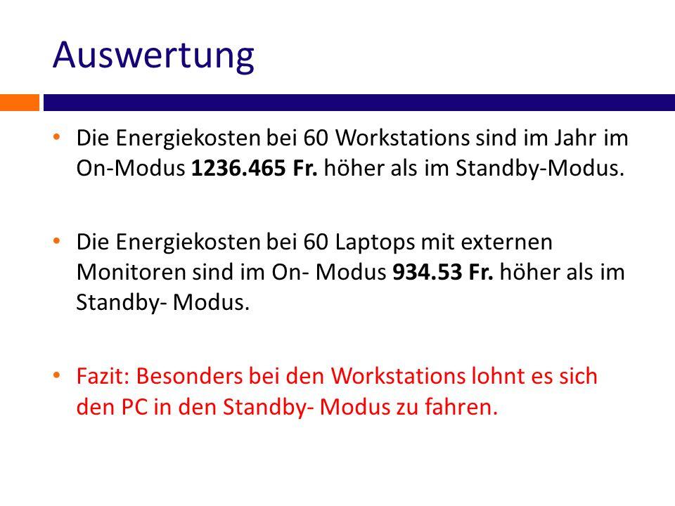 Auswertung Die Energiekosten bei 60 Workstations sind im Jahr im On-Modus 1236.465 Fr. höher als im Standby-Modus.