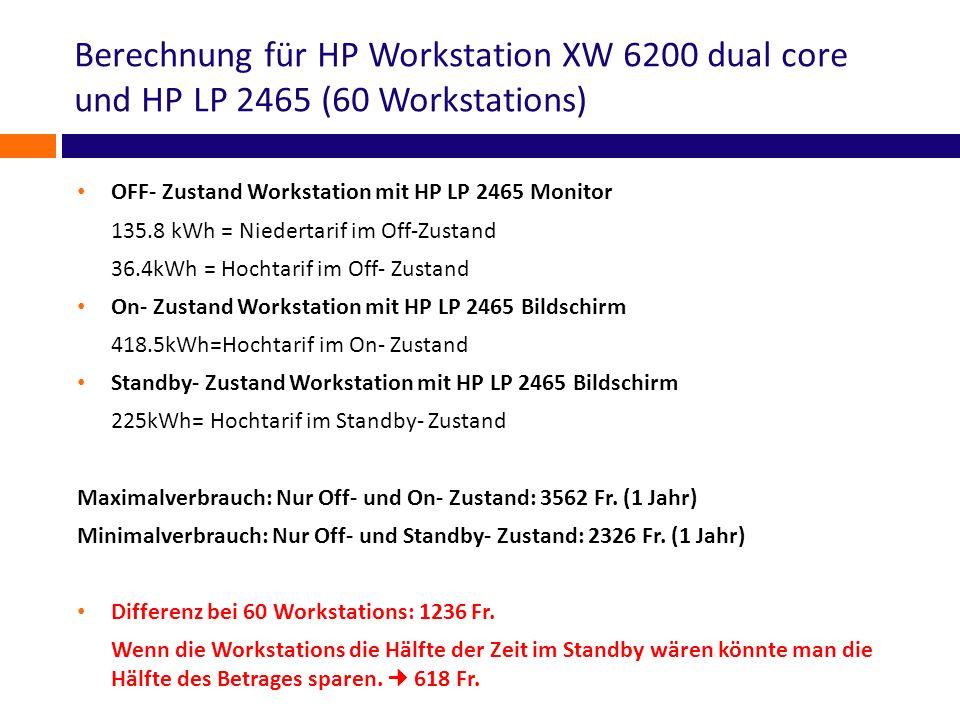 Berechnung für HP Workstation XW 6200 dual core und HP LP 2465 (60 Workstations)
