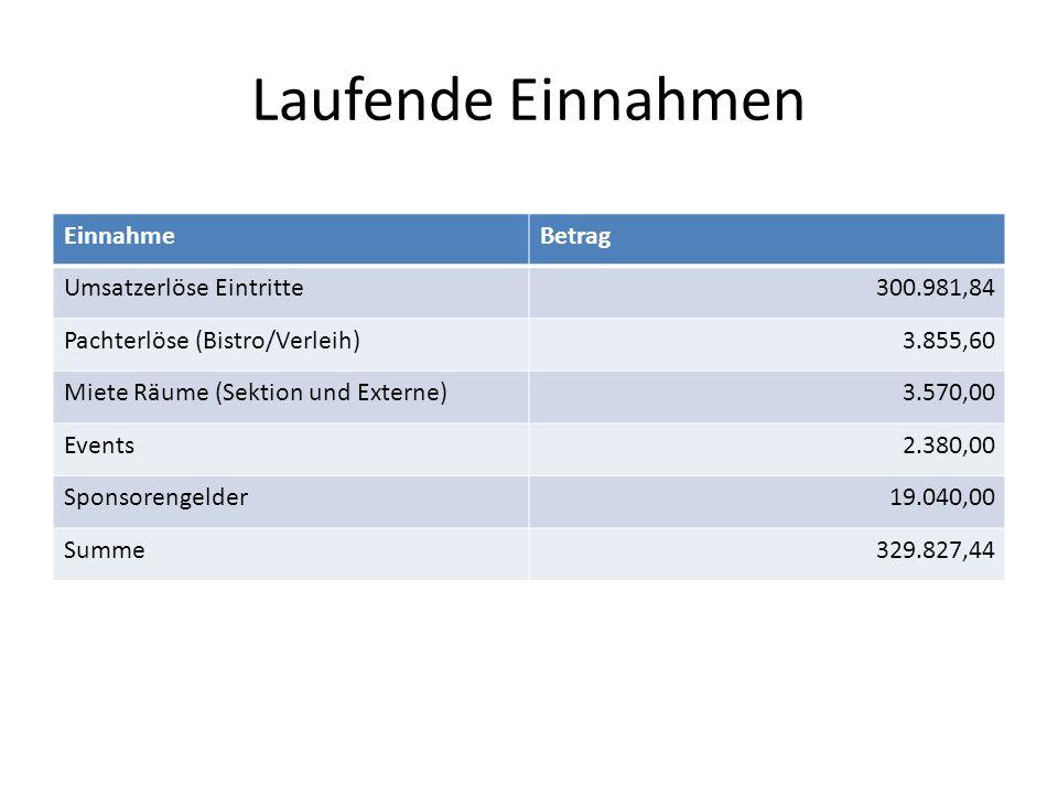 Laufende Einnahmen Einnahme Betrag Umsatzerlöse Eintritte 300.981,84