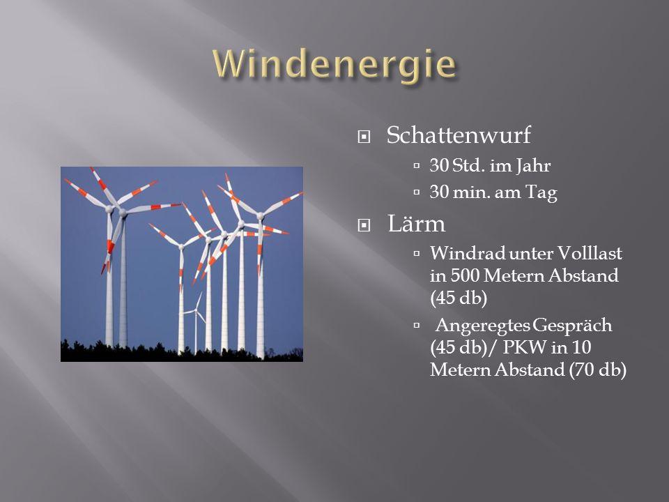 Windenergie Schattenwurf Lärm 30 Std. im Jahr 30 min. am Tag