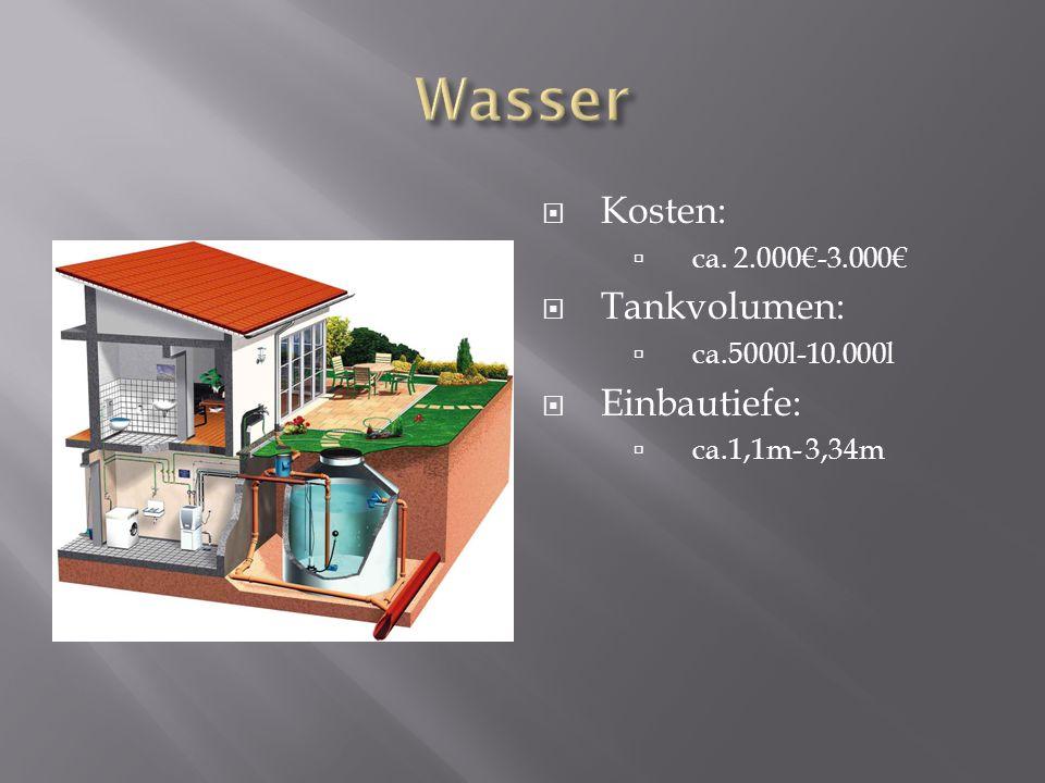 Wasser Kosten: Tankvolumen: Einbautiefe: ca. 2.000€-3.000€