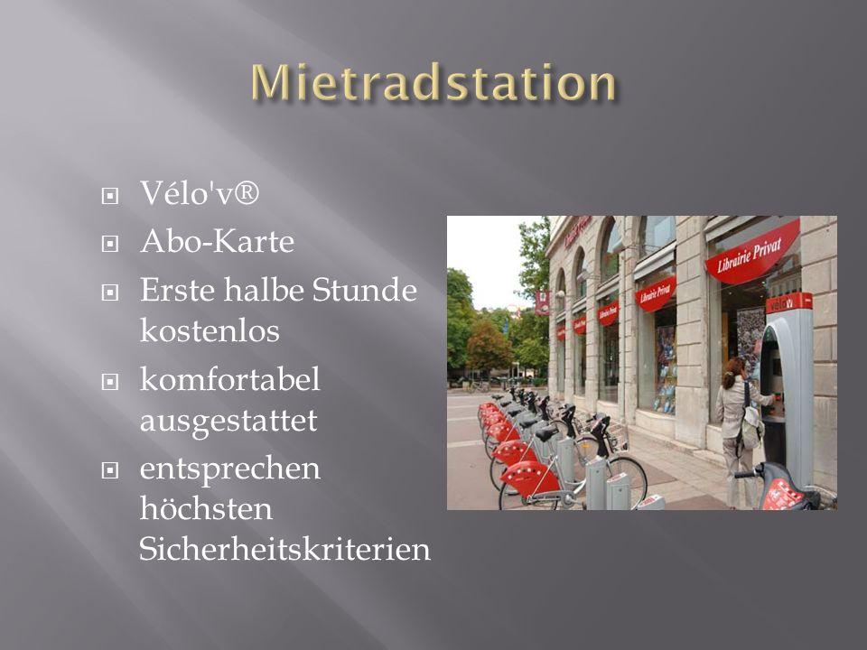 Mietradstation Vélo v® Abo-Karte Erste halbe Stunde kostenlos