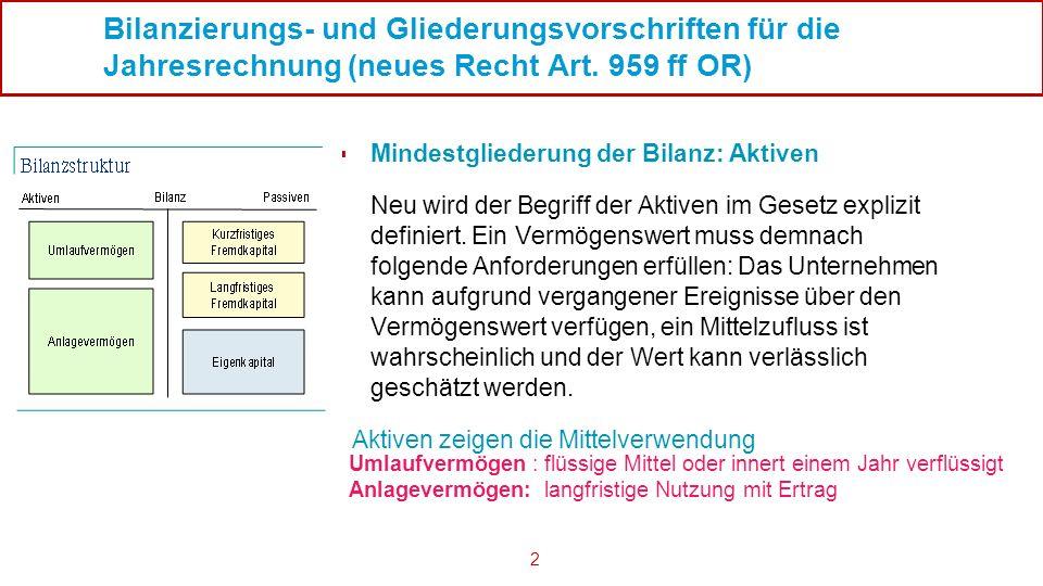 Bilanzierungs- und Gliederungsvorschriften für die Jahresrechnung (neues Recht Art. 959 ff OR)