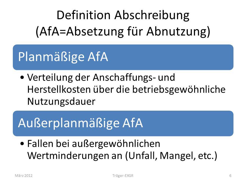 Definition Abschreibung (AfA=Absetzung für Abnutzung)