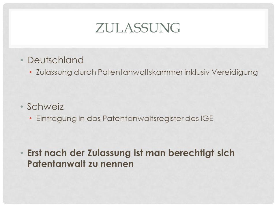 Zulassung Deutschland Schweiz