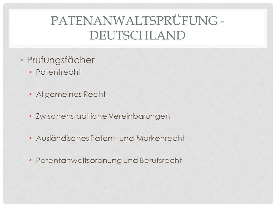 Patenanwaltsprüfung - Deutschland