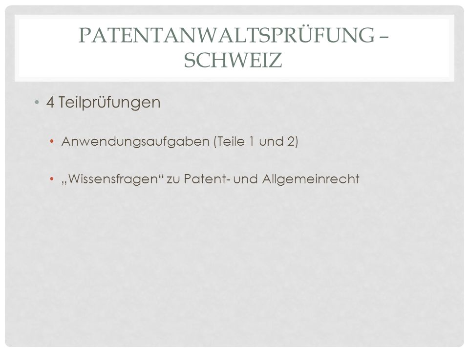Patentanwaltsprüfung – Schweiz
