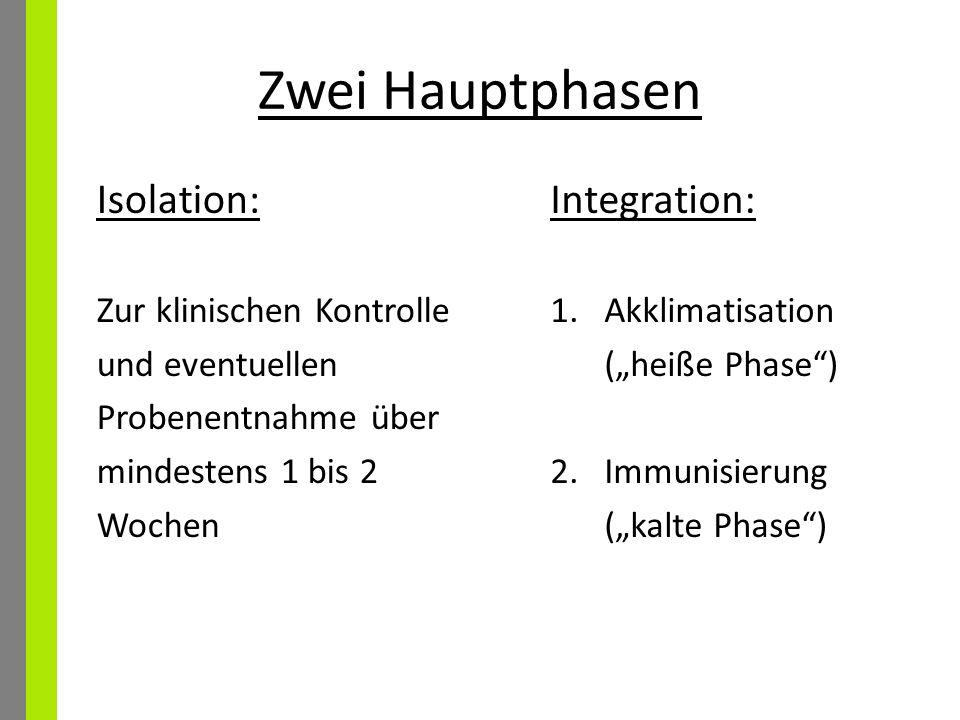 Zwei Hauptphasen Isolation: Integration: Zur klinischen Kontrolle