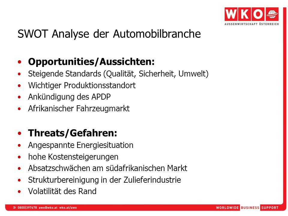 SWOT Analyse der Automobilbranche
