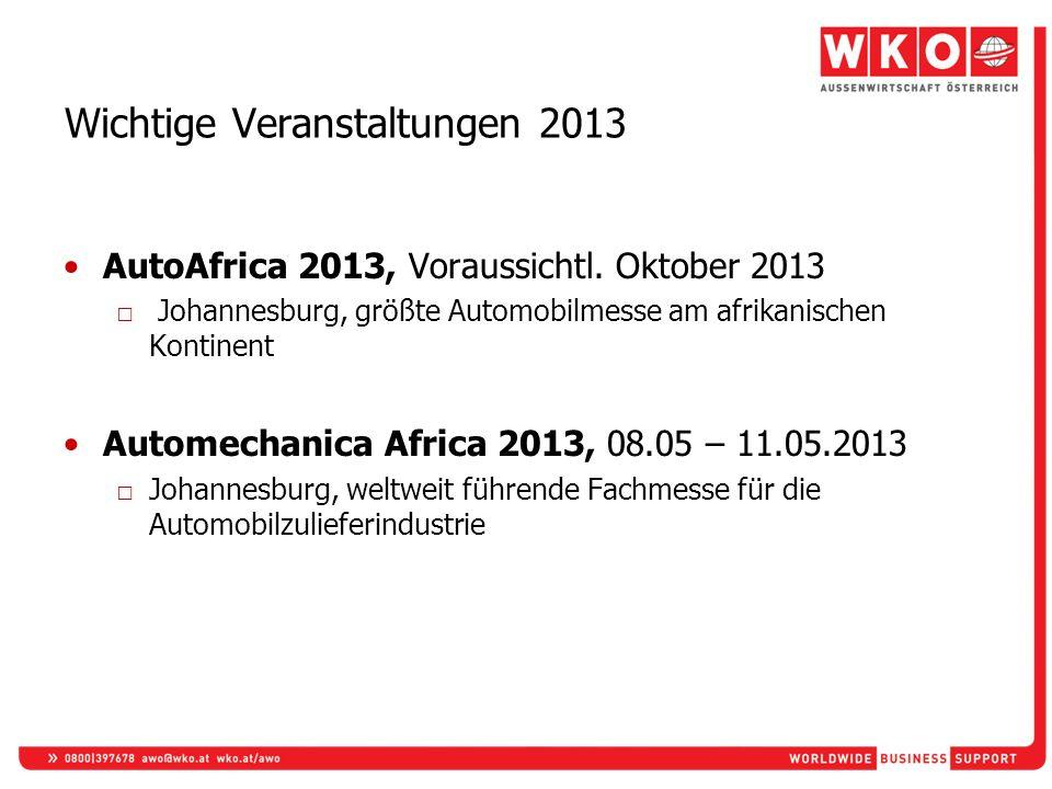 Wichtige Veranstaltungen 2013