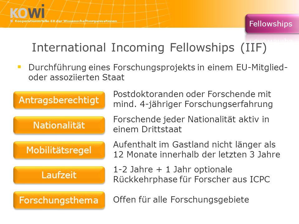 International Incoming Fellowships (IIF)