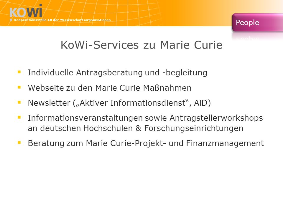 KoWi-Services zu Marie Curie