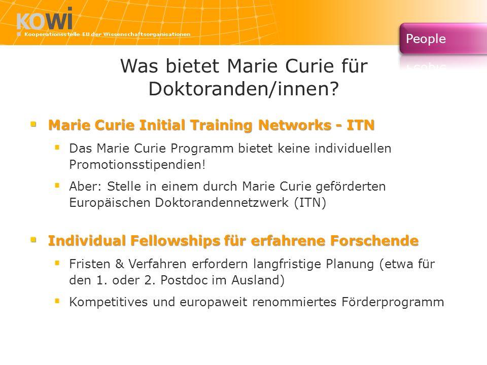 Was bietet Marie Curie für Doktoranden/innen