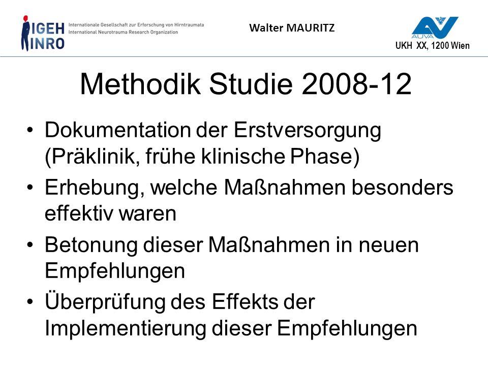Methodik Studie 2008-12 Dokumentation der Erstversorgung (Präklinik, frühe klinische Phase) Erhebung, welche Maßnahmen besonders effektiv waren.