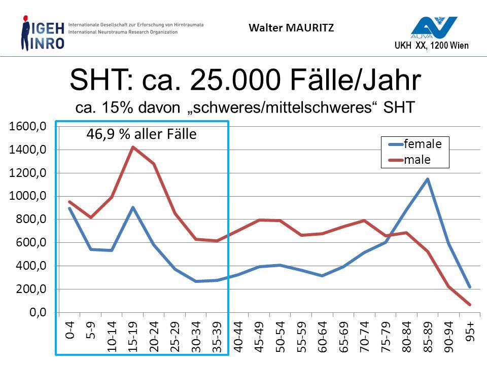 """SHT: ca. 25.000 Fälle/Jahr ca. 15% davon """"schweres/mittelschweres SHT"""