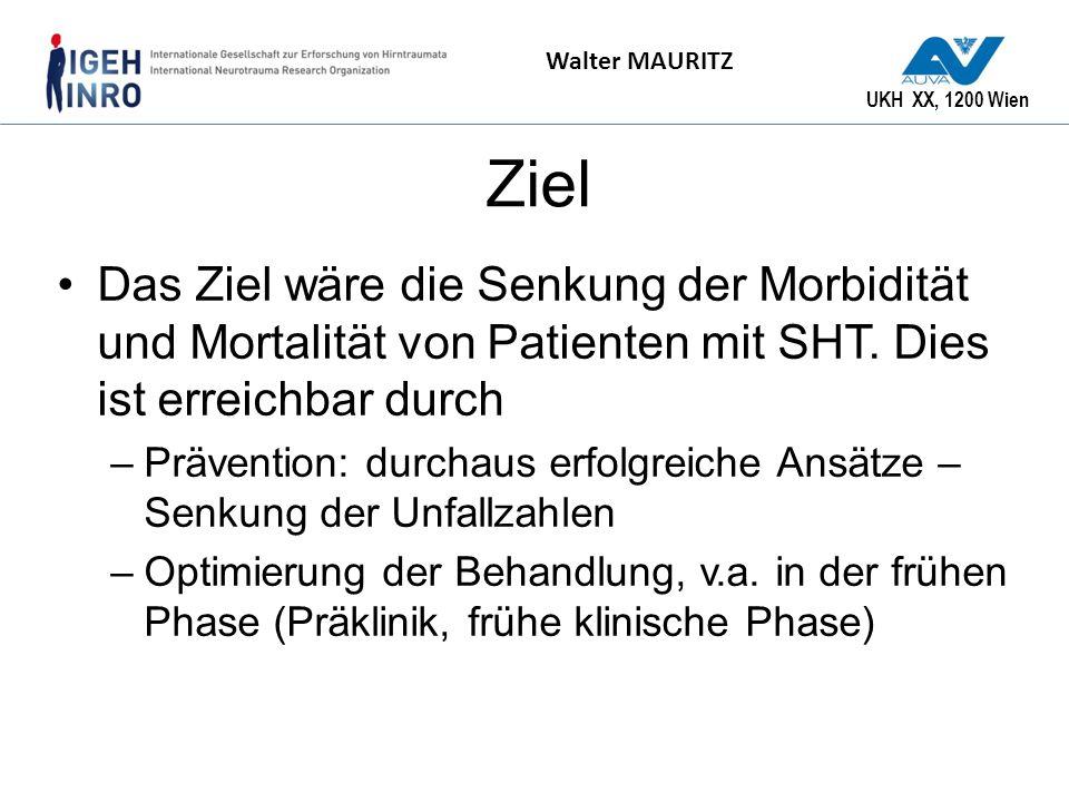 Ziel Das Ziel wäre die Senkung der Morbidität und Mortalität von Patienten mit SHT. Dies ist erreichbar durch.