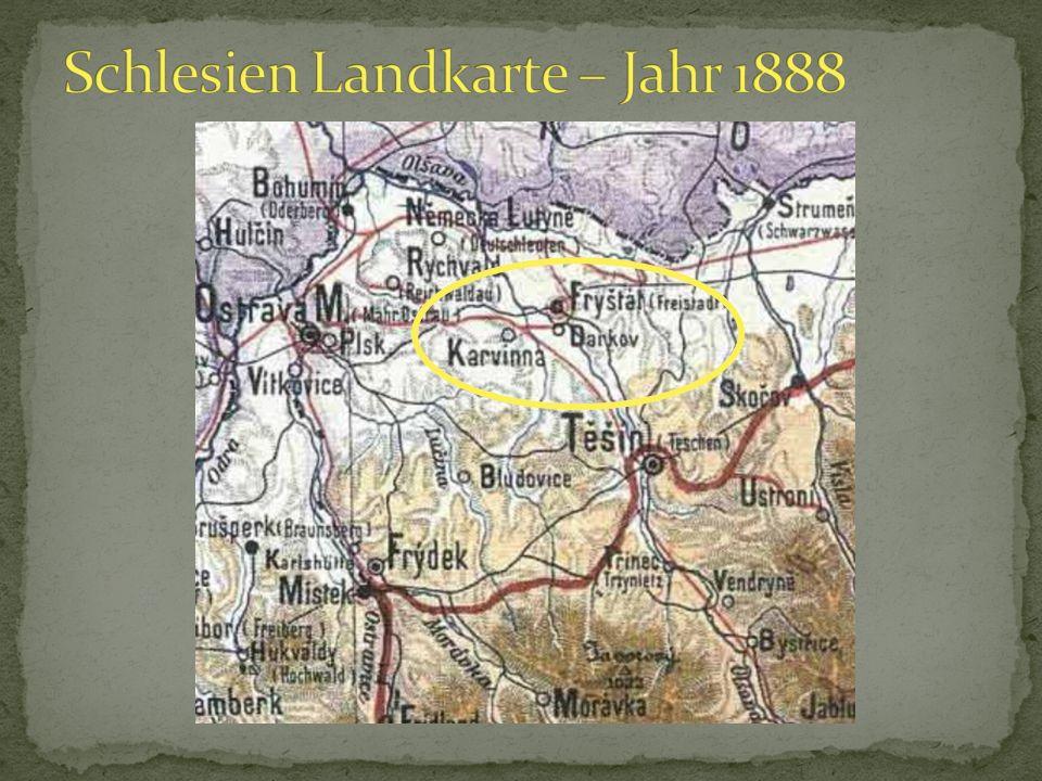 Schlesien Landkarte – Jahr 1888