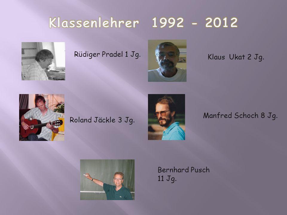 Klassenlehrer 1992 - 2012 Rüdiger Pradel 1 Jg. Klaus Ukat 2 Jg.